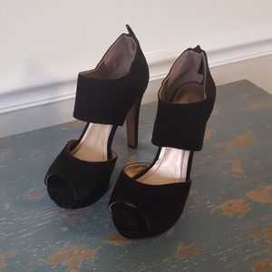 BCBG Paris Black Suede Peep Toe